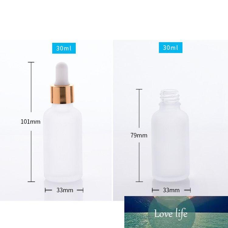 wholesale 30ml frosted glass dropper bottle essential oil glass bottle with gold sliver black cap