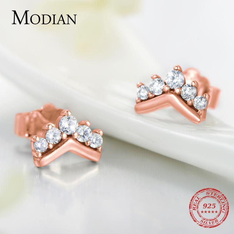 Modian 2020 Hot 100% стерлингового серебра 925 Простой Clear CZ Корона Очарование серьги стержня для женщин смазливая партия Рождественский подарок ювелирные изделия