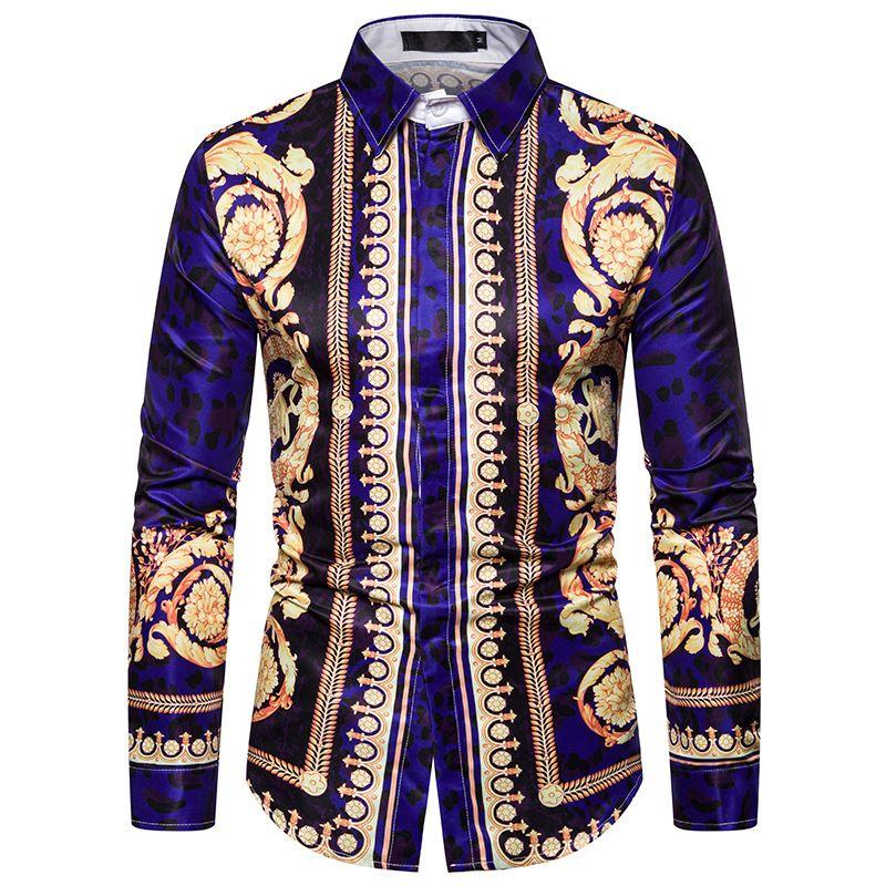 Мужские повседневные рубашки Весна осень с длинным рукавом отворотный рубашка творческий D печатать этническое стиль мода удобная мужская блузка