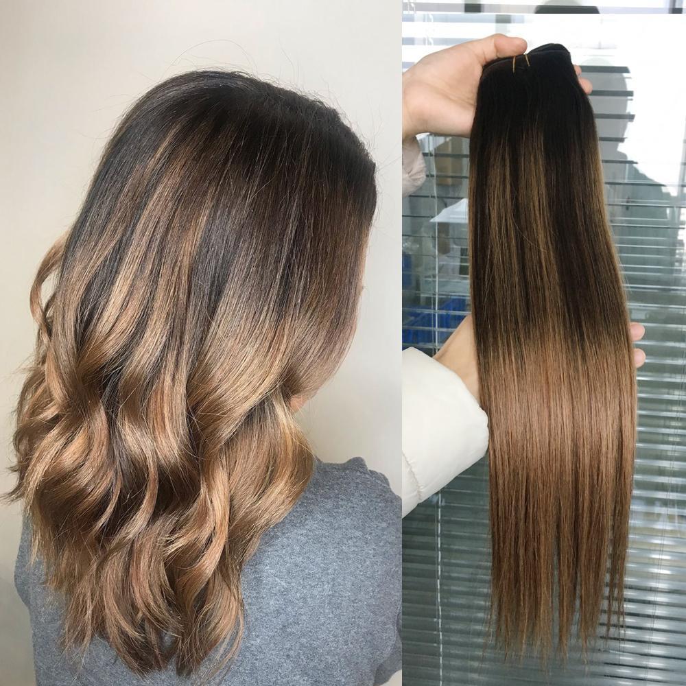 Ombre estensioni dei capelli umani del Virgin brasiliano peruviano malesi indiano Stiangth Balayage Brown Biondo T2 / 6 # Ombre tessuto dei capelli Bundles