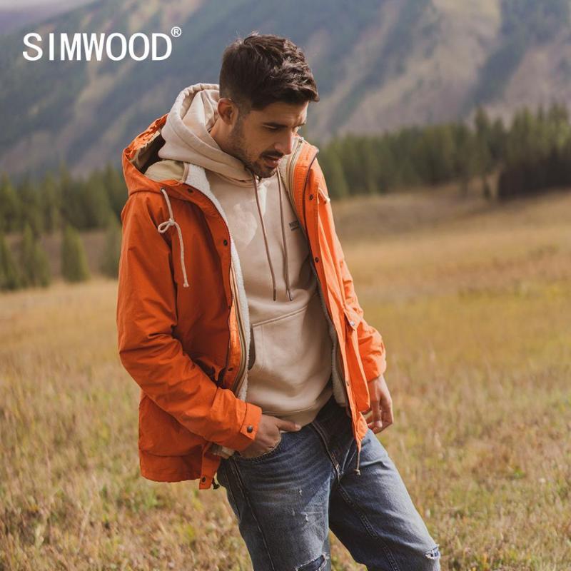 SIMWOOD 2020 sonbahar kış yeni polar iç yelek çıkarılabilir kat erkekler moda sıcak uzun kapüşonlu artı boyutu 980606 dış giyim ceketler