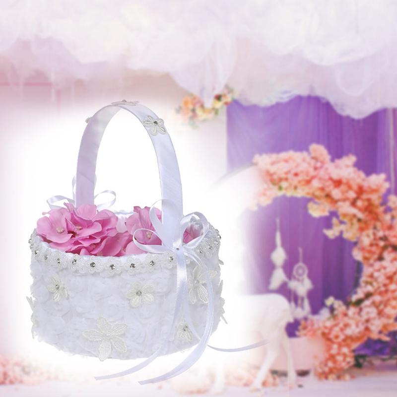 Dantel Çiçek Kız Basket Dekoratif Çiçek Sepeti İçin Batı Tarzı Düğün Töreni Parti Malzemeleri