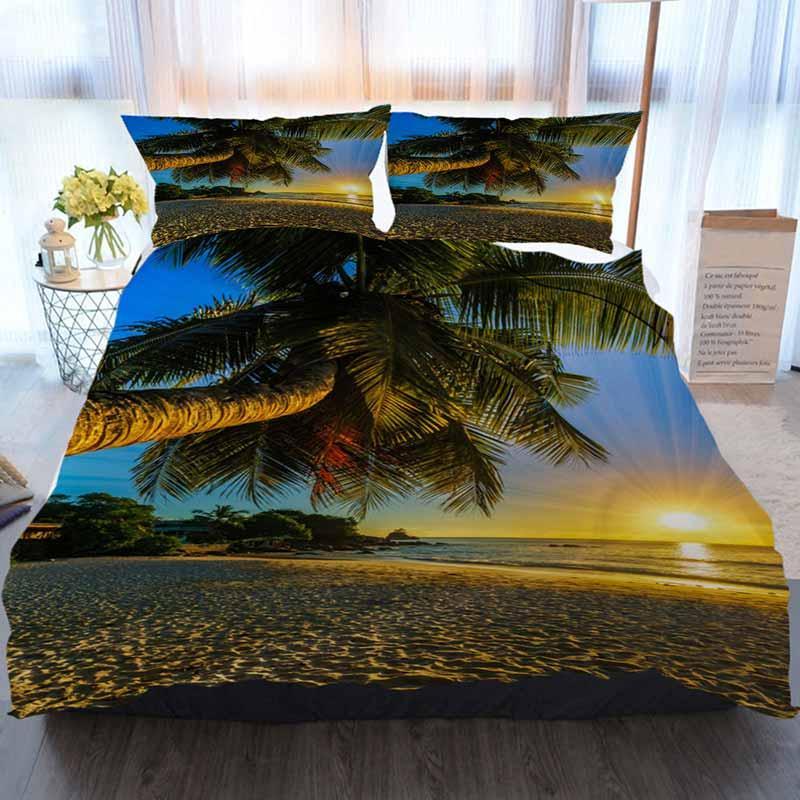 Sunset Literie 3 ensemble housse de couette Belle romantique Sunset Palm Paradise Seychelles Maison de luxe douce couette Couette Couverture