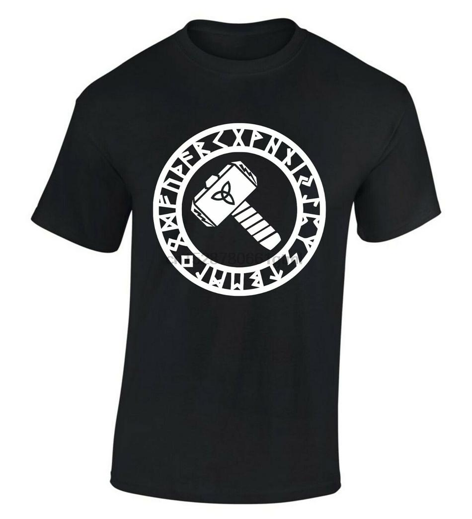 Thors Hammer Mjoumllnir T-shirt vichingo Pagan Dio del Tuono Mjolnir S-XXL liberano il trasporto divertente SUPERA IL T Shirt