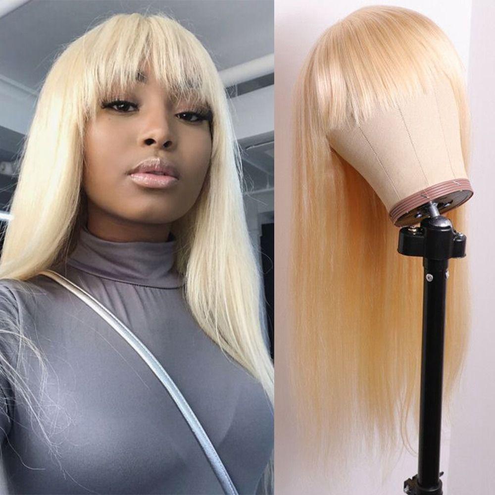 613 Blonde Bangs 인간의 머리 가발 브라질 레미 스트레이트 직조 8-28 인치 Pre Plucked 가득 차있는 기계로 만든 레이스 프런트 가발 180 % WowWigs 머리