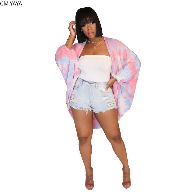 2020 mujeres del verano de las chaquetas de la manga completa Tie-dye de impresión ocasionales de la playa atractiva bohemia Night Club Coats Jackets Delgado Streetwear GL564