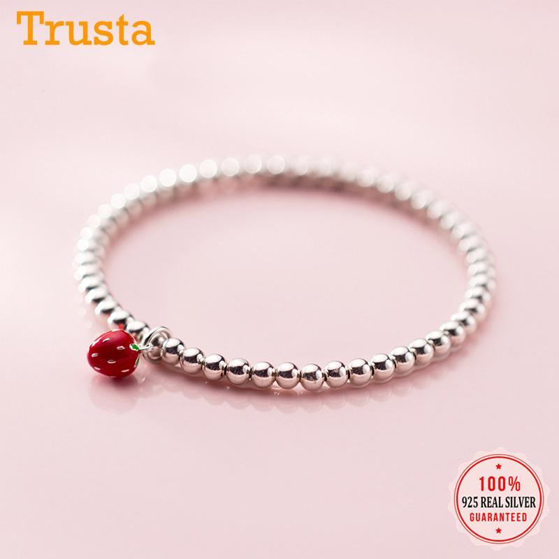 Trustdavis Bracelet Fashion 925 Fraise en argent sterling 3D perles bracelet élastique pour les femmes Filles Bijoux de mariage cadeau DS2264
