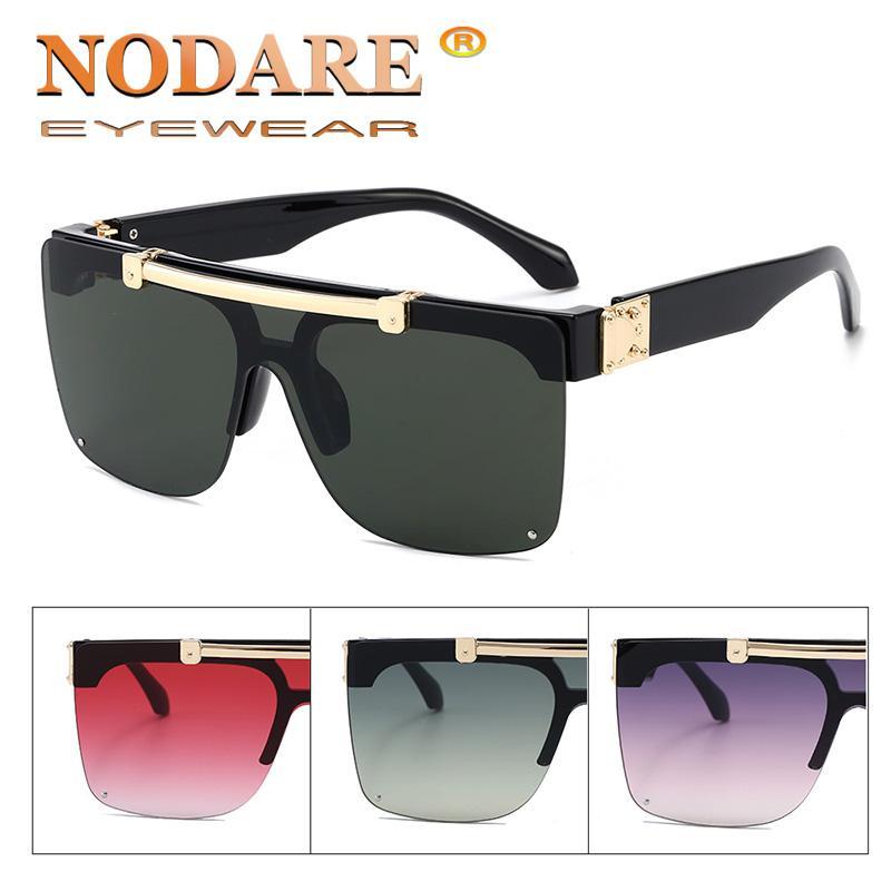 NODARE 2020 nuovo quadrato punk flip occhiali da sole del progettista di marca delle lenti UV400 Moda Occhiali masculino uomo