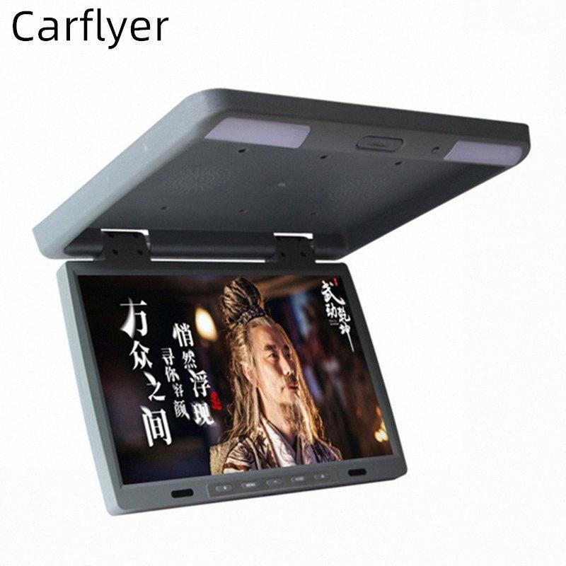 Araç yvG0 # için 15.4 İnç Araba Monitör Çatı çevir Aşağı 1080P HD Video MP5 Player Destek USB SD Hoparlör FM Tavan TV Ses çıkışı