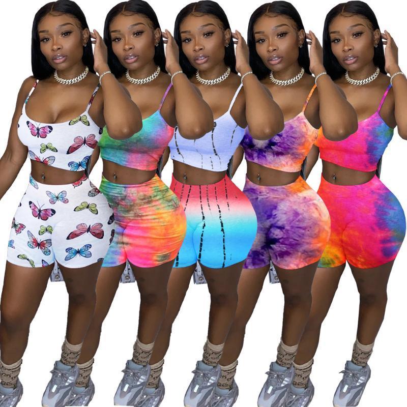 Женщины Cousssuit Teat-Dye Butterfly Print Spaghetti Рейн Топы Шорты Jogger Ffulpants Костюм двух частей Набор