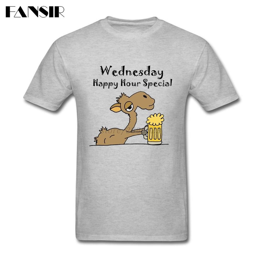 Männer-T-Shirts Grundlegende Art-nach Baumwolle Kurzarmhemd Man Funky cooler Kamel Bier trinken Cartoon Erwachsener Sommer-T-Shirts