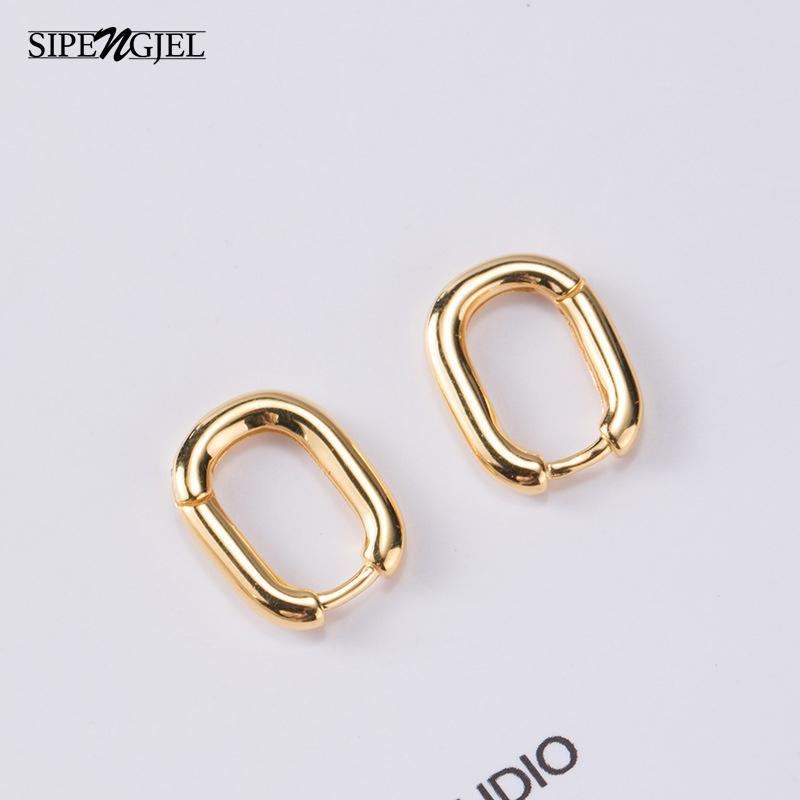 Мода Маленький Геометрический Твердый Овальный Обруч Серьги Золото Серебро Цвет Малый Обруч Серьги для Женщин Предотвращают аллергические украшения 2020