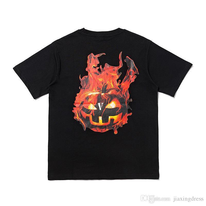 New Fujiwara Harajuku hommes manches courtes Halloween motif flamme citrouille T-shirt imprimer hommes de hip-hop de la rue haute et haut des femmes T-shirts Qualité