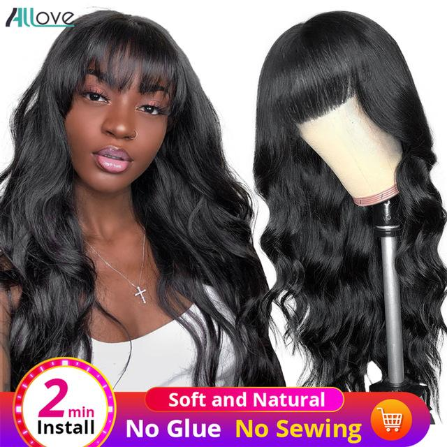 Allove Brazilian Body Wave Loose Deep Curly Human Hair Wigs with Bangs Peruvian Straight Kinky Curly None Lace Wigs Indian Hair Malaysian