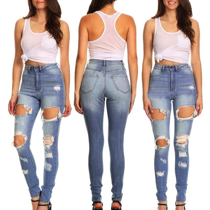 pantaloni a matita dell'alta vita dei jeans delle donne delle nuove donne di moda casual pantaloni elasticizzati buche retrò pantaloni stretti