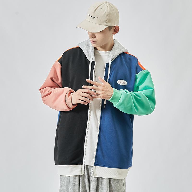 2020 casuale classiche nuovi uomini di Hip Hop con cappuccio Felpe Streetwear Intero Marca Nero Grigio kg-244