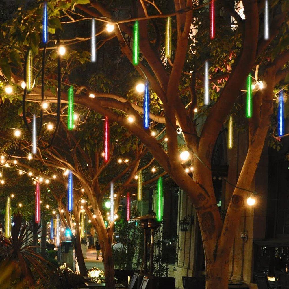 Luzes impermeáveis do chuveiro do meteoro que caem luzes da chuva 30 cm 8 luzes da corda do diodo emissor de luz do tubo para a decoração exterior da árvore do Xmas da festa de casamento