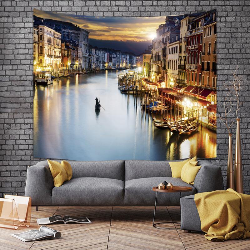 Le commerce extérieur pour les tapisseries de style des bâtiments de la ville Europe du Nord tapisserie tissu suspendu décoration maison coutume wholesale06