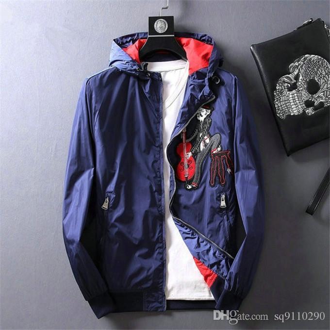 İlkbahar Sonbahar moda Lüks için 2020 Yeni Erkek Tasarımcı ceketler siyah kırmızı Ceket kapüşonlu erkek giyim erkek ceketleri PRD
