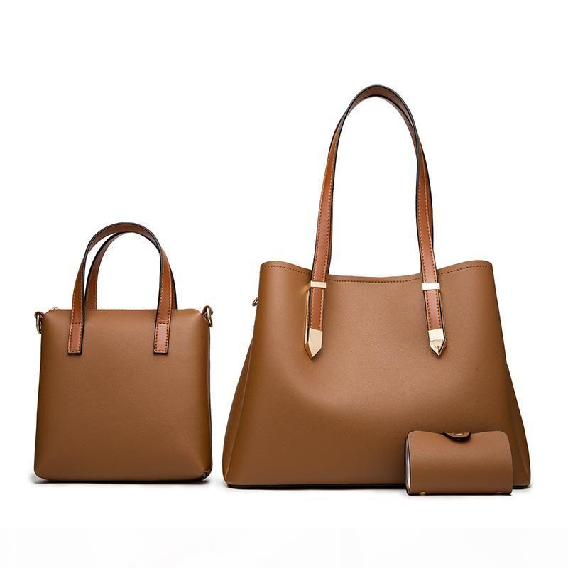 Frauen-Handtaschen 3 PC Bag Set Umhängetaschen für Frauen 2020 Solide Schultertasche Weibliche Portemonnaie Tote