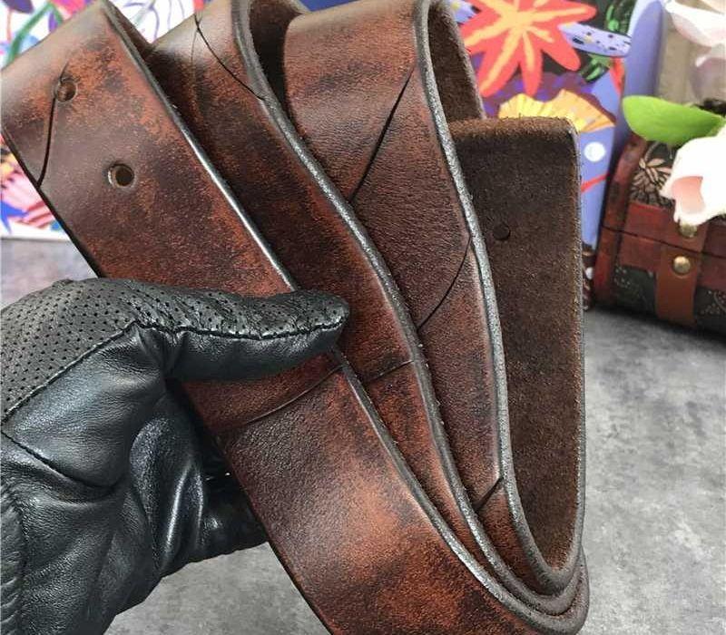 Rétro Cowboy occidental Ceintures larges Haut cuir épais hommes de ceinture sans boucle Cinturon Mujer Hommes Ceintures en cuir sans Buckles66