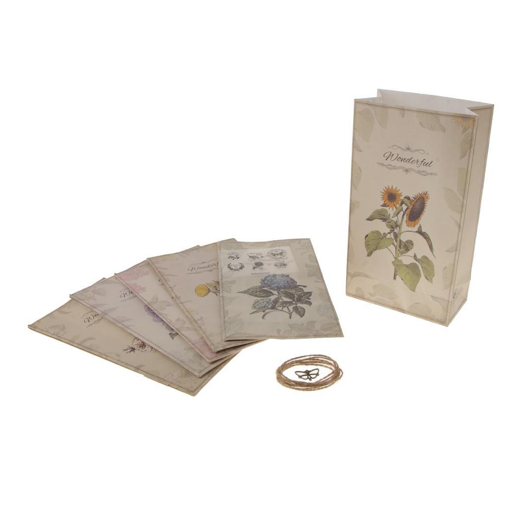 Pacote de 6 sacos de papel presente flor gasto Chic Impresso alimentos doces com etiqueta dos favores Mini Set Pingente partido
