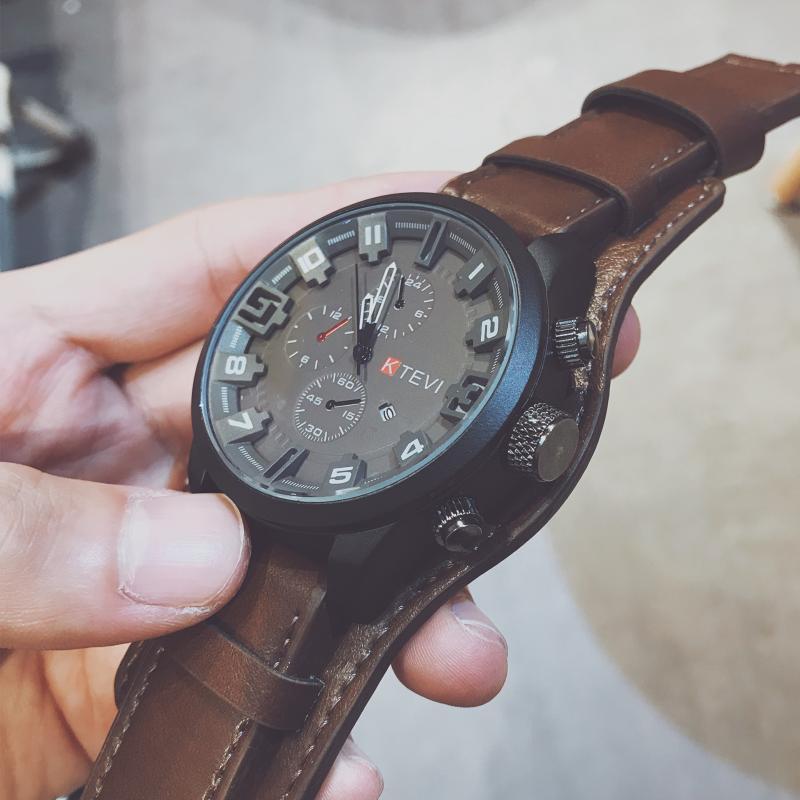 2020 YENİ Deri Erkekler Spor Saatleri Erkek Kuvars Saat Man Army Deri Bilek İzle Relogio Masculino