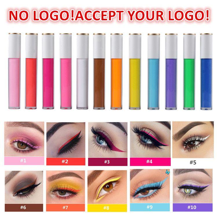 لا يوجد شعار! 12 ألوان ملونة السائل كحل لامع عينيه السائل تينت قبول شعار مخصص شعار الخاص بك
