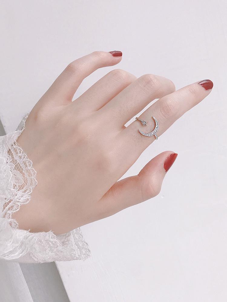 s925 prata lua aberto anel estrela coleção feminina japonesa e coreana fabricante líquido vermelho na moda dedo indicador simples personalidade 35