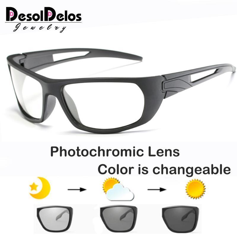 Décoloration PhotoChromic 2020 Hommes sans chasse Lunettes de soleil carrées Marque Chameleon Soleil pour hommes Verres de mode lunettes de soleil polarisées FECNU