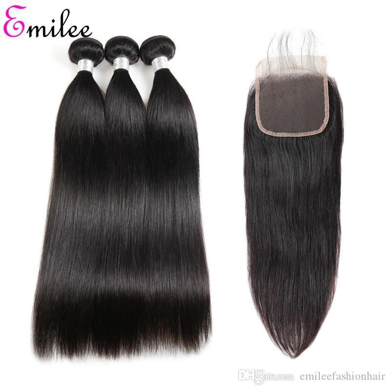Emilee Straight 4*4 Lace Closure Hair Bundles 7A Virgin Brazilian Hair Weave 100% Natural Human Hair for Black Women