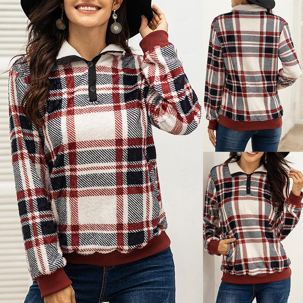 2020 Autumn Winter Plaid Hoodies Women Button Turn Down Collar Loose Long Sleeve Casual Sweatshirts Female Warm Soft Tops D30 T200917