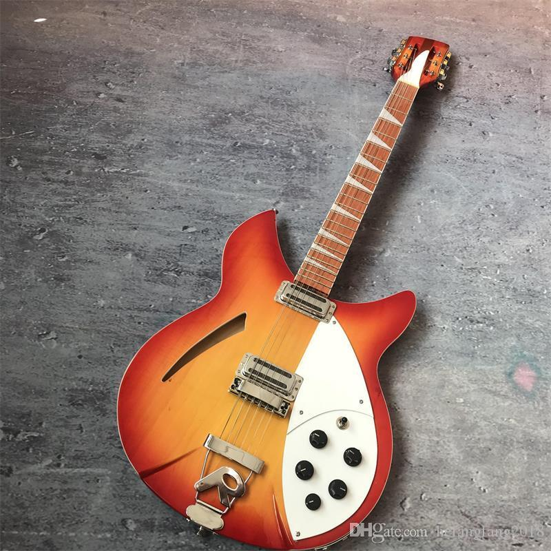 Оптовая прямые продажи 39 дюймов 12 струнной гитары, Rickenback электрическая гитара 360, с двумя выходами, из красного дерева грифом и лакированного дерева, F