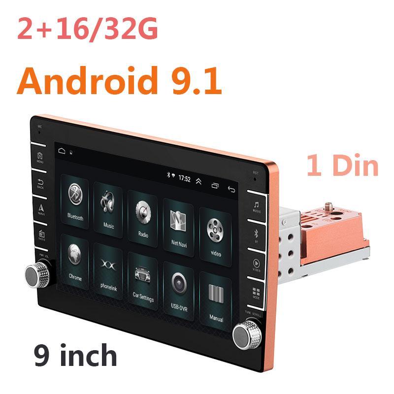 자동차 오디오 안드로이드 9.1 멀티미디어 유니버설 1 DIN 9 인치 라디오 탐색 블루투스 와이파이 스테레오 GPS 플레이어