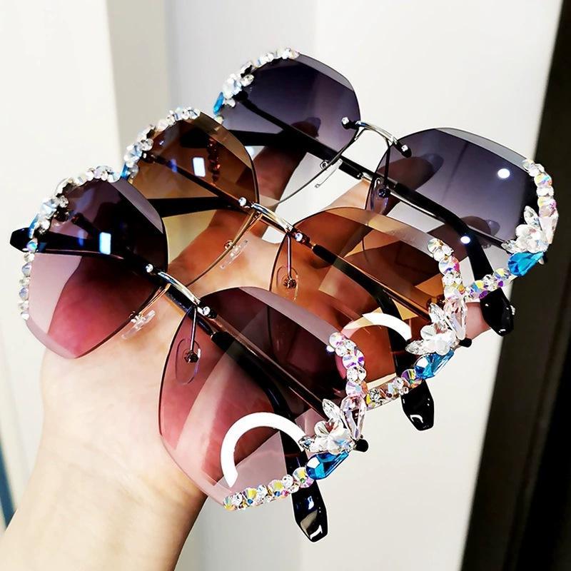 Çerçevesiz Marka Tasarım Güneş Kadınlar 2020 Vintage Lüks Rhinestone Güneş Gözlükleri Degrade Lens Gözlük Kadın JKHPM Için Shades