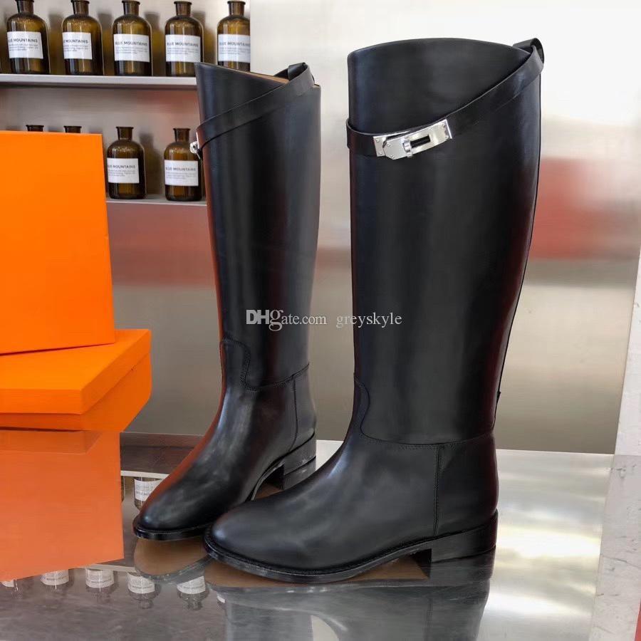 Fibbia in metallo in pelle di mucca Brand Design Kelly donne di alta Stivali moda occidentale Moto Cavaliere Stivali Winter Dress Boots da sposa, 35-40