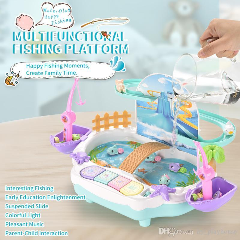 Juego de los niños del verano con la plataforma de pesca de agua de juguete multifuncional juego con pista magnética Juego Jugar Juguete interactivo chica