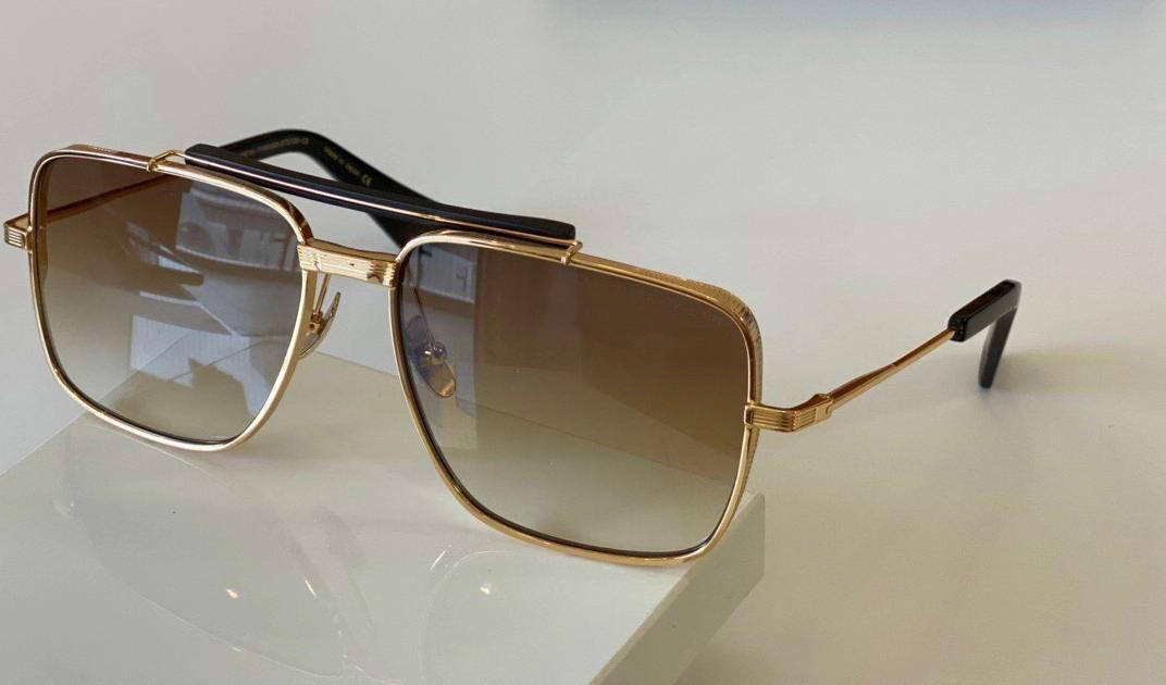 Hommes Pilote Or Cadre Or Boîte brun noir ombragé avec lunettes de soleil Sport Lunettes de soleil Mens Sunglasses 126 Lunettes de soleil Milvl