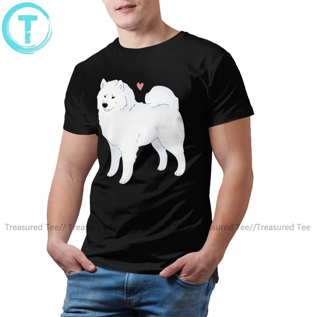 Chien Samoyède T-shirt Samoyède amour T-shirt mignon Streetwear T-shirt de coton 100 pour cent homme manches courtes T-shirt