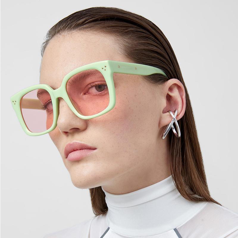 Occhiali da sole da sole popolari Aoze Occhiali da sole Aoze Quadrato Retro 2020 Luxury Fashion Design per signore Uomo Eyeglasses UV Donne INS Brand TKGWK