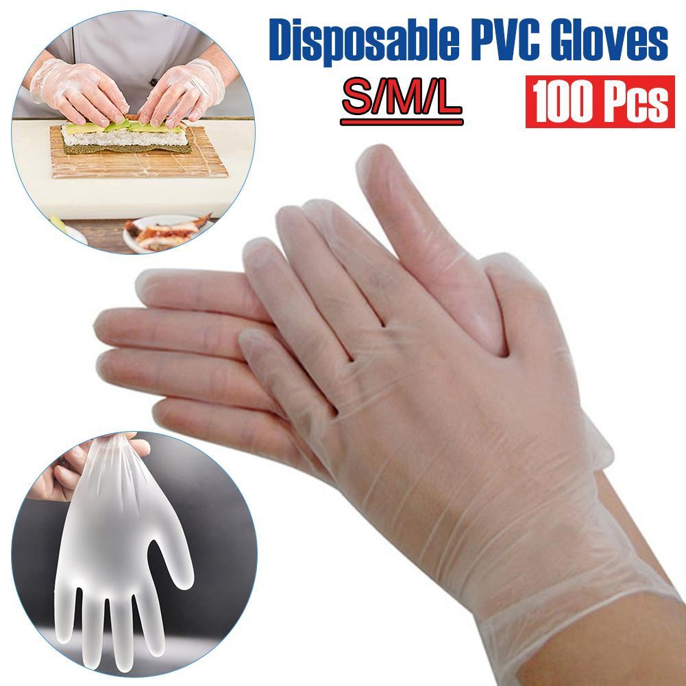Guantes de PVC 100PCS de la categoría alimenticia Guantes desechables impermeables alérgicos antiestático para limpieza en la cocción de alimentos guantes de trabajo de cocina Y200421