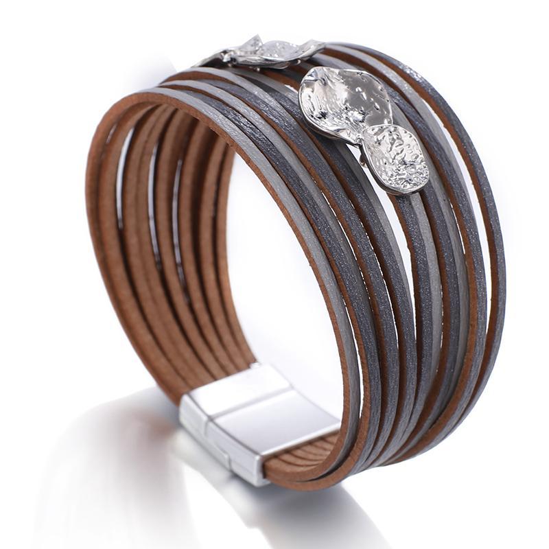 FlashBuy Simple Legierung Leder Armbänder für Frauen Boho Multilayer Charme Magnet Wrap Armreifen Modeschmuck Geschenk