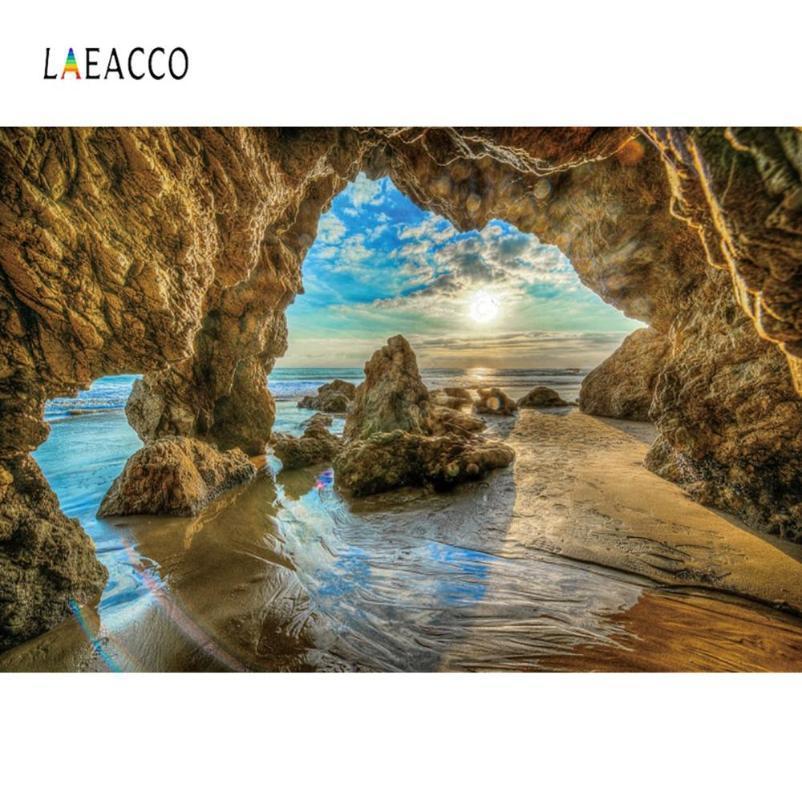 Laeacco tropicale Estate Mountain Cave Sea Sunset Scenic Fotografia naturale Sfondo Foto del contesto Photocall Photo Studio