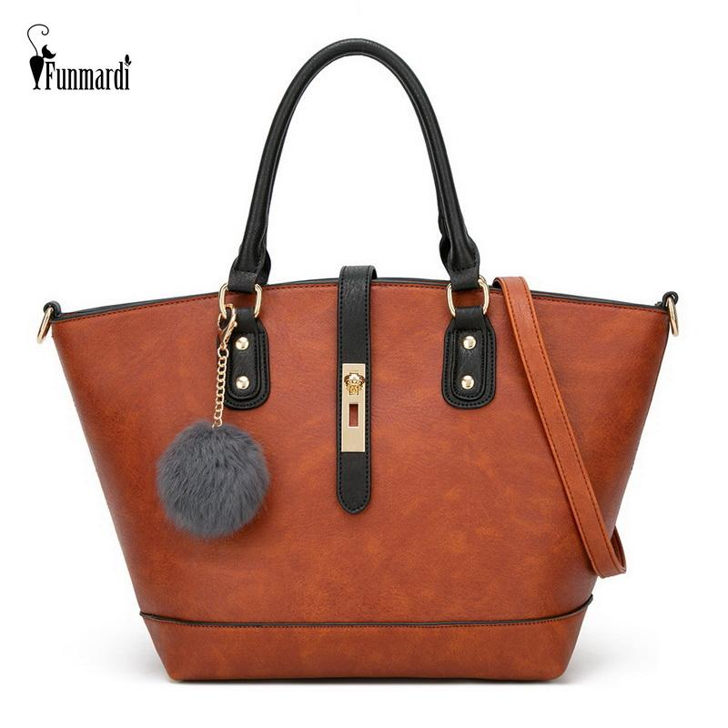 FUNMARDI 2020 New Women Handbag Hairball mulheres sacos Vintage Bolsas de Ombro Crossbody PU Leather Tote Bag Boa Qualidade WLHB2019