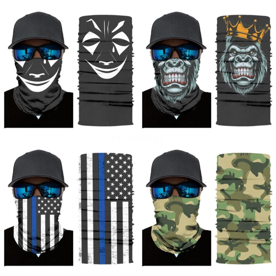 Masque Bouche diseñador de la máscara de la cara llena Impreso Negro FabricHorror # 891