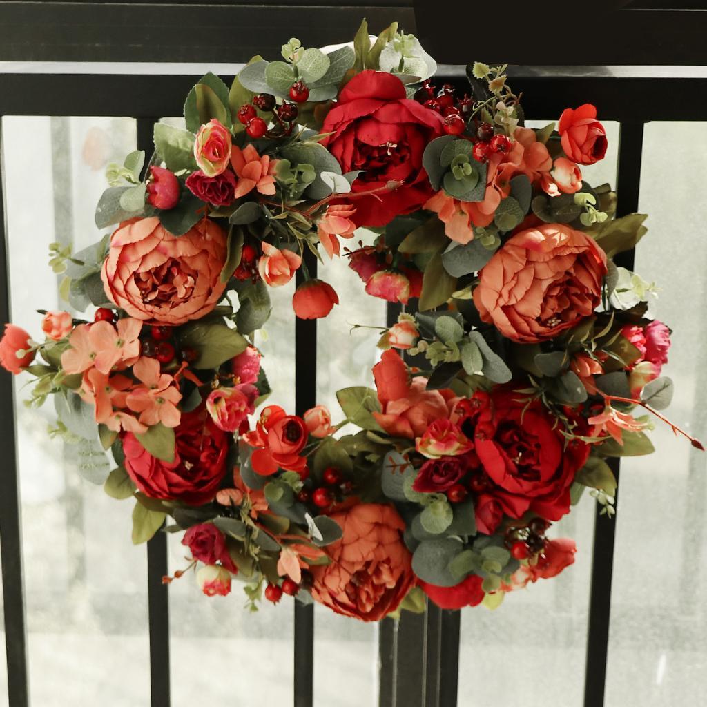 Grinalda da flor de Natal Rattan Artificial Silk Peony Início Pendurar Porta Decor