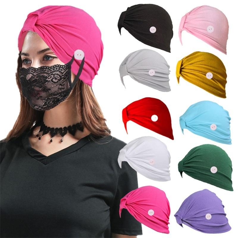 Solid Color Button Caps Hot Sale Non-slip Mask Holder Hat Turban Hats For Women Men Protective Ear HHD1597