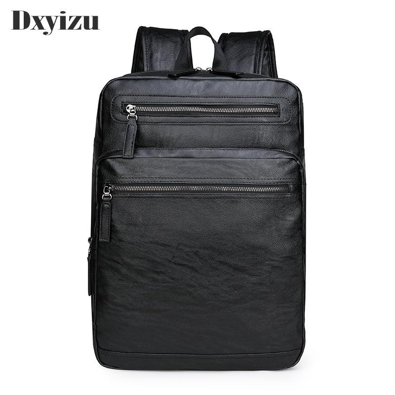 Zaino Scuola del Cuoio impermeabile zaino per il computer portatile Uomini Viaggi adolescente sacchetto maschio Bagpack Mochila