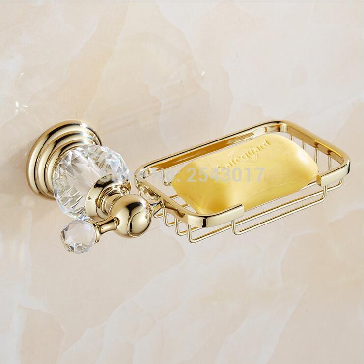 Top Grade Crystal Jade Sabão Ouro Suporte de montagem na parede do banheiro Acessórios sabão Basket ZR2623