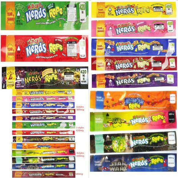 Halat Sızdırmazlık Şeker Packaging Kenar Halat Çanta 14 Üç Nerds Gıda Mix Türleri İlaçlı Yeni -İnekler Nerdsrope Çanta Paketi Folyo Sakızlı Bas lyV boşaltın